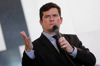 Brazil's Justice Minister Sergio Moro speaks during a launch ceremony of the Parliamentary Front of Public Security in Brasilia