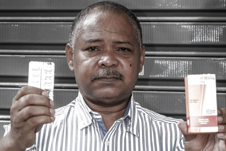 José Aparecido Oliveira, 59, conta que precisa do Gliclazida diariamente, mas ficou sem tomar porque postos de saúde estavam sem estoque