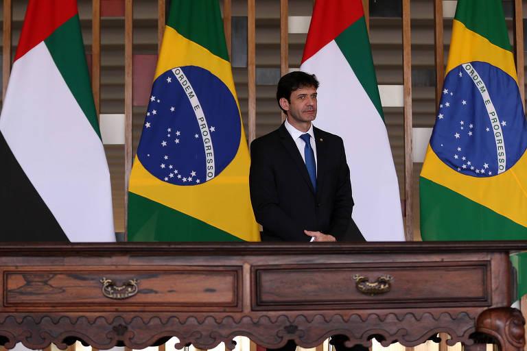 O ministro do Turismo, Marcelo Álvaro Antônio, durante cerimônia no Palácio do Itamaraty