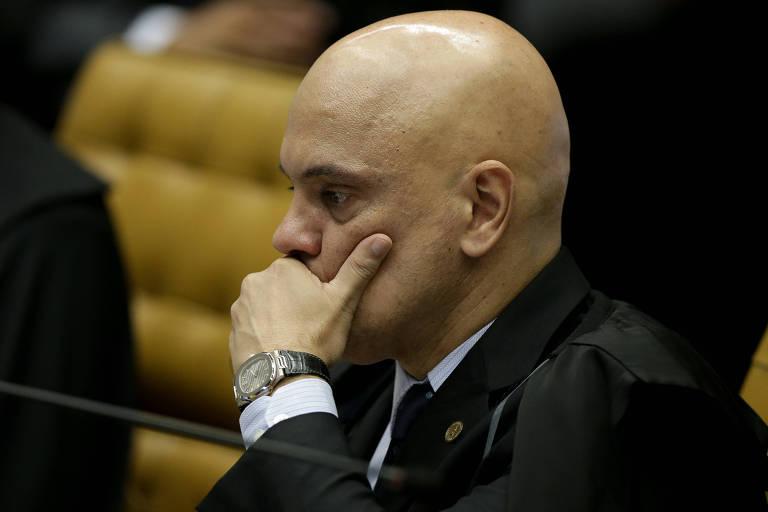 O ministro Alexandre de Moraes durante sessão plenária do STF. Ele foi designado relator do inquérito que apura fake news, ameaças e ofensas à honra dos juízes da corte