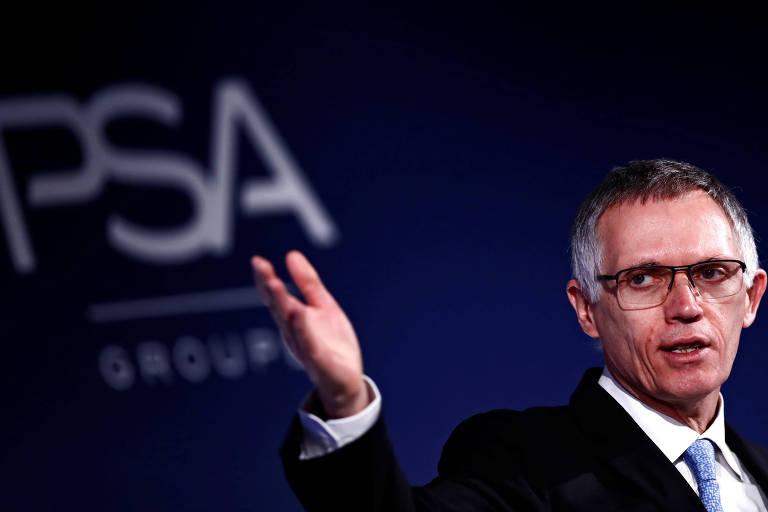 Carlos Tavares, presidente do grupo PSA Peugeot Citroën, durante anúncio de resultados da companhia, na França