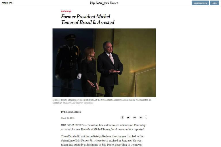 Reprodução do site do jornal New York Times