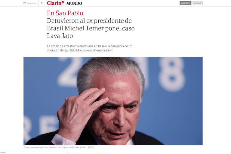 Reprodução do site do jornal argentino Clarín