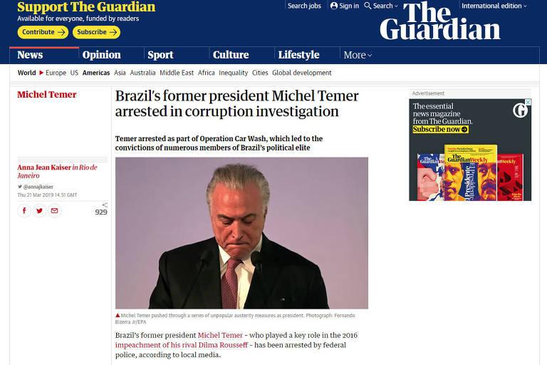 Reprodução do site do jornal britânico The Guardian