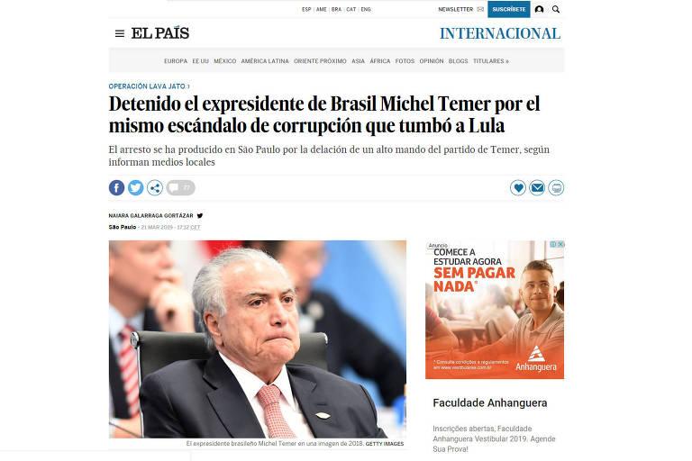 Reprodução do site do jornal espanhol El País