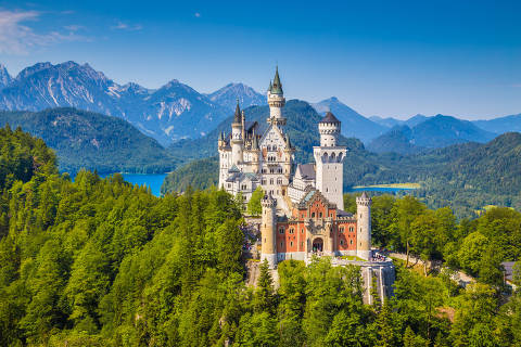 Famous Neuschwanstein Castle with scenic mountain landscape near Füssen, Bavaria, Germany.