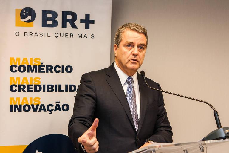 Diretor-geral da OMC, Roberto Azevêdo, durante apresentação no ICC Brasil (Câmara Internacional do Comércio)