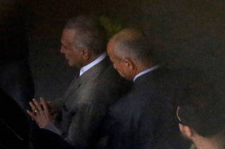 Brazil's former president Michel Temer is seen at Guarulhos airport in Sao Paulo