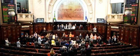RIO DE JANEIRO, RJ, 05.02.2019: Ocorreu nesta terca-feira (05) a primeira sessao legislativa de 2019 na ALERJ.Foto: PAULO CARNEIRO/AM Press & Images/Folhapress ***PARCEIRO FOLHAPRESS - FOTO COM CUSTO EXTRA E CRÉDITOS OBRIGATÓRIOS***