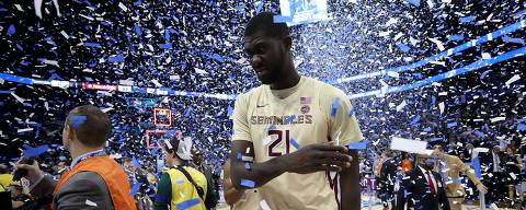 CHARLOTTE, NORTH CAROLINA - MARCH 16: Christ Koumadje #21 of the Florida State Seminoles reacts after their 73-63 loss to the Duke Blue Devils in the championship game of the 2019 Men's ACC Basketball Tournament at Spectrum Center on March 16, 2019 in Charlotte, North Carolina.   Streeter Lecka/Getty Images/AFP