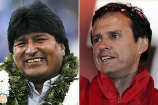File photos of leading Bolivian candidates for president Morales and Quiroga