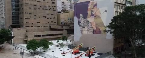 Grafite em edifício que contorna a praça das Artes é apagado pela gestão Bruno Covas (PSDB)