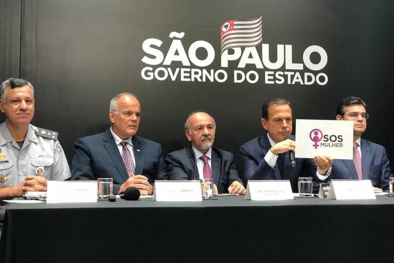 O governador de São Paulo, João Doria (PSDB) durante lançamento do aplicativo SOS Mulher