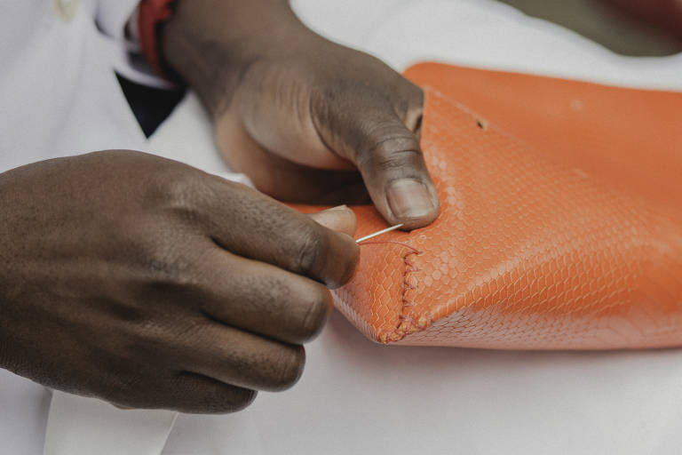 Mão costura bolsa laranja