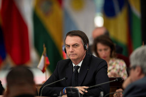 Brazil's President Jair Bolsonaro attends the Prosur summit of South American leaders at La Moneda palace in Santiago, Chile, March 22, 2019. Courtesy of Chilean Presidency/Handout via REUTERS THIS IMAGE HAS BEEN SUPPLIED BY A THIRD PARTY. ORG XMIT: GGGAST34