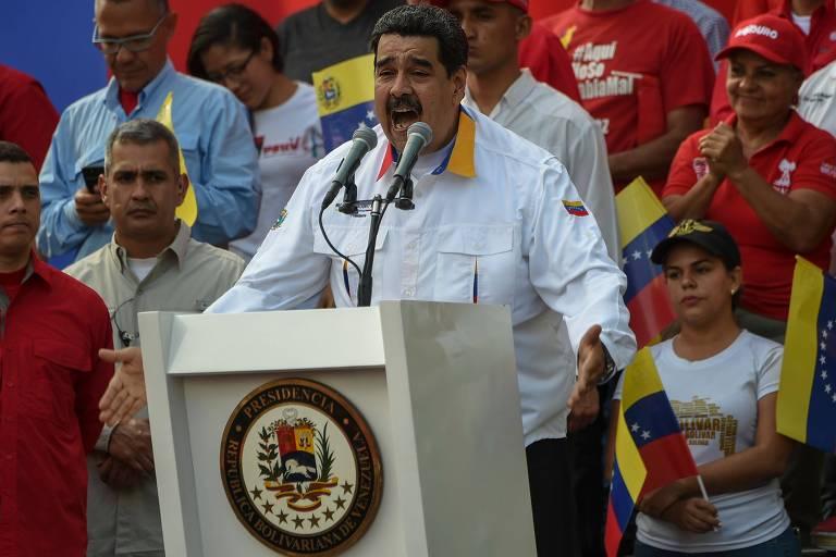 O ditador venezuelano Nicolás Maduro durante pronunciamento neste sábado (23), em Caracas
