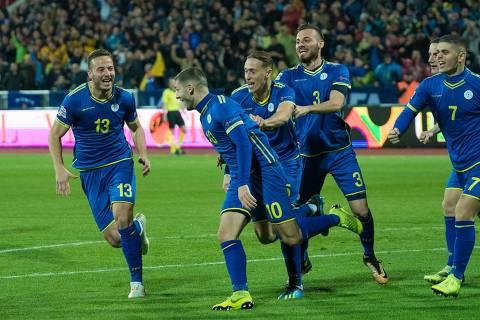 Seleção de Kosovo em jogo. (Foto: Reproducao / Facebook) ORG XMIT: KCviSr0mzsU6_zUHa_0v