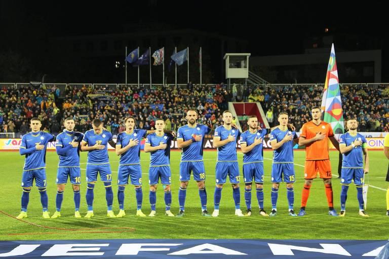 Seleção de Kosovo antes de jogo pela Liga das Nações da Uefa, no ano passado