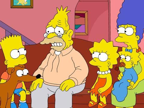 """Televisão: da esquerda para direita, os personagens Bart, Abe, Lisa, Marge e Maggie Simpson, em cena do espisódio """"To Cur, With Love"""", do seriado """"Os Simpsons"""". (Foto: Fox/Divulgação) ***DIREITOS RESERVADOS. NÃO PUBLICAR SEM AUTORIZAÇÃO DO DETENTOR DOS DIREITOS AUTORAIS E DE IMAGEM***"""