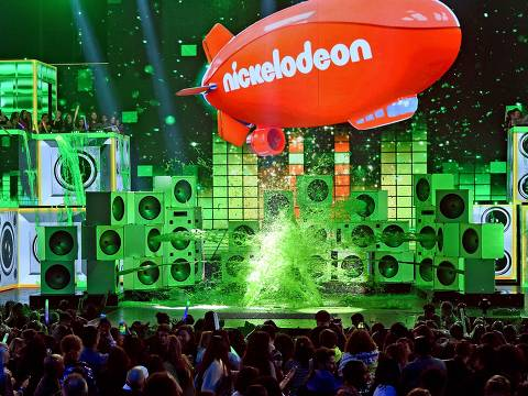 LOS ANGELES, CA - MARCH 23: DJ Khaled gets slimed onstage at Nickelodeon's 2019 Kids' Choice Awards at Galen Center on March 23, 2019 in Los Angeles, California.   Kevin Winter/Getty Images/AFP == FOR NEWSPAPERS, INTERNET, TELCOS & TELEVISION USE ONLY ==