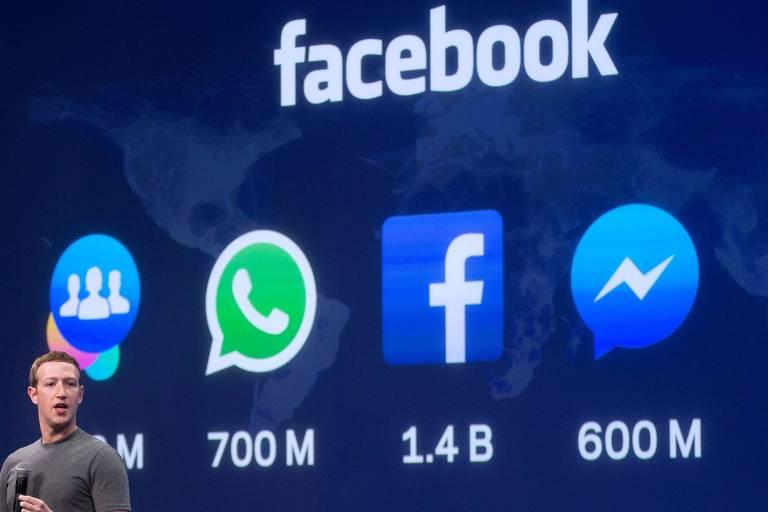 O CEO do Facebook, Mark Zuckerberg, em palestra em março deste ano