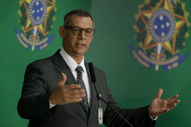 Porta voz do governo Bolsonaro, Otávio Rêgo Barros, durante entrevista coletiva no Palácio do Planalto
