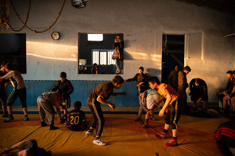 Training at the Maiwand Wrestling Club, which is rebuilding after a terroristbombing left dozens dead here six months ago, in Kabul, Afghanistan, Feb. 6, 2019. Maiwand is Afghanistan?s most important wrestling gym, and traditionally produces many champions; Charitable efforts organized by wrestlers abroad have helped rebuild it. (Kiana Hayeri/The New York Times) ORG XMIT: XNYT22
