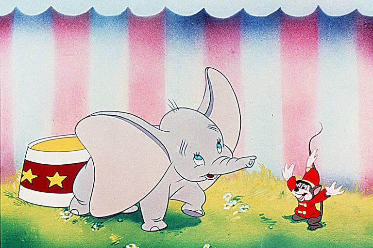 """Cena do desenho animado """"Dumbo"""", dos estúdios Disney, onde o elefante voador Dumbo brinca com seu amigo Timóteo"""