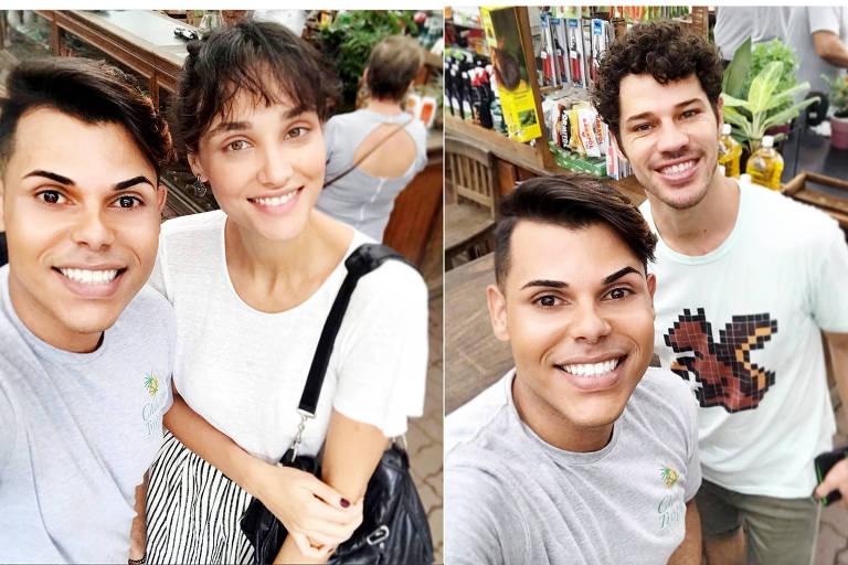 Fã tira foto com Débora Nascimento e José Loreto em floricultura no Itanhangá, no Rio, no domingo (24)