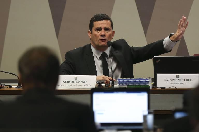 O ministro da Justiça e Segurança Pública, Sérgio Moro, participa de reunião na Comissão de Constituição e Justiça do Senado Federal, para falar sobre o pacote anticrime