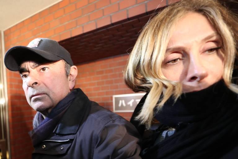 Carlos Ghosn e sua mulher Carole Ghosn