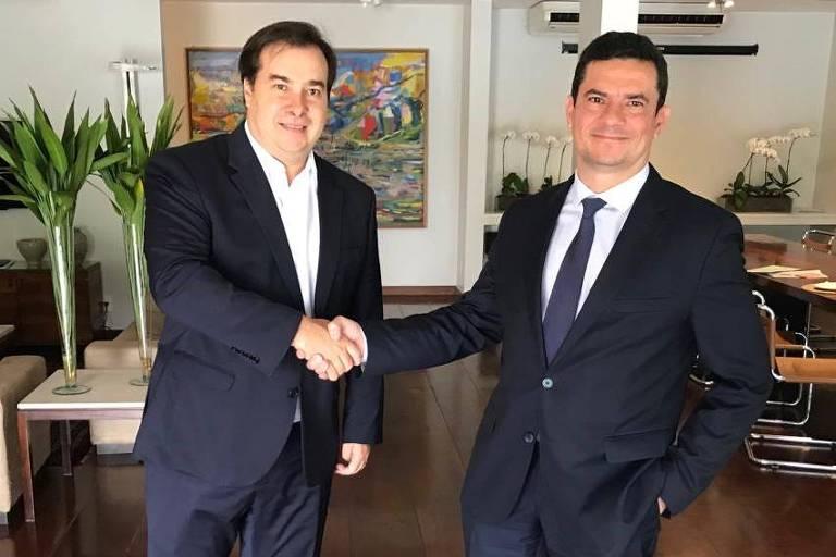 Rodrigo Maia e Sergio Moro em encontro nesta quinta (28)