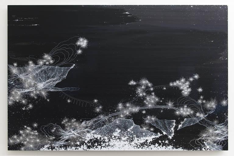 """Obra """"Noturno (pontes)"""" (2019), de Sandra Cinto, que apresenta mostra na Casa Triângulo"""