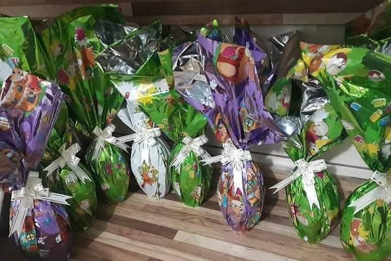 Ovos de Páscoa feitos pela confeiteira Bruna Silva