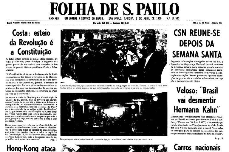 Primeira página da Folha de S.Paulo de 2 de abril de 1969