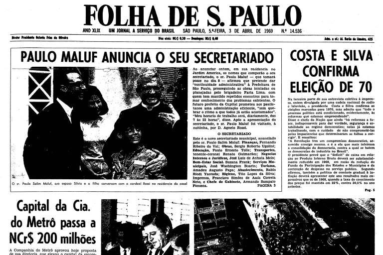 1969: Paulo Maluf nomeia secretários e diz que continuará obras de Faria Lima