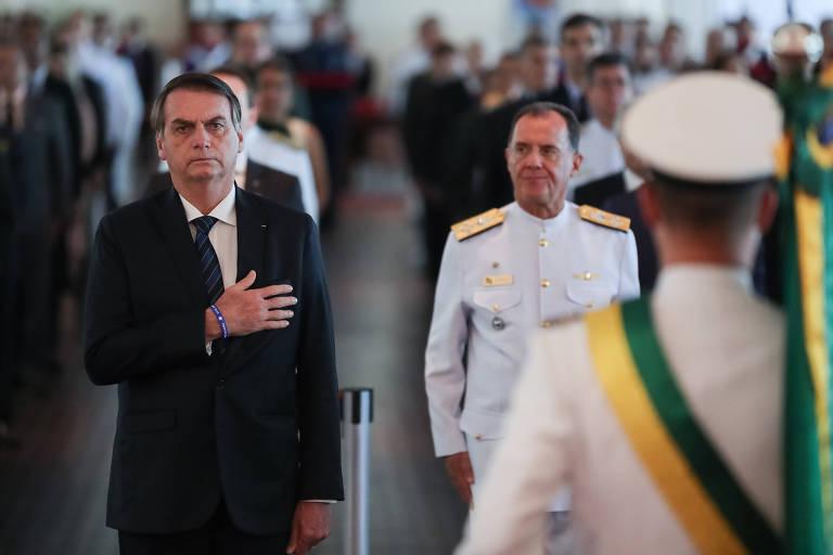 O presidente Jair Bolsonaro (PSL) participa de cerimônia de aniversário da Justiça Militar, em Brasília