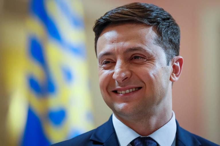 retrato de Volodimir Zelenski, comediante e candidato à Presidência da Ucrânia