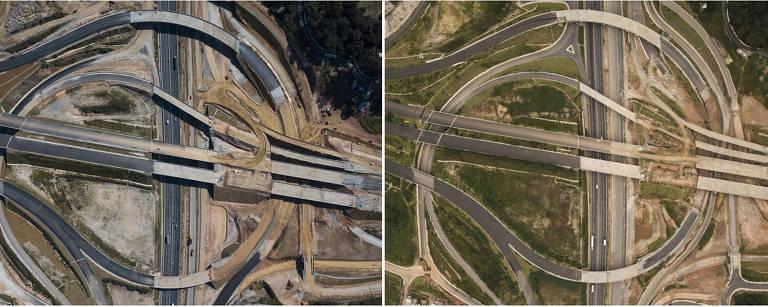 Visão aérea das obras do Rodoanel sobre a rodovia Fernão Dias, em junho de 2018 (à esq.) e em março de 2019 (à dir.)