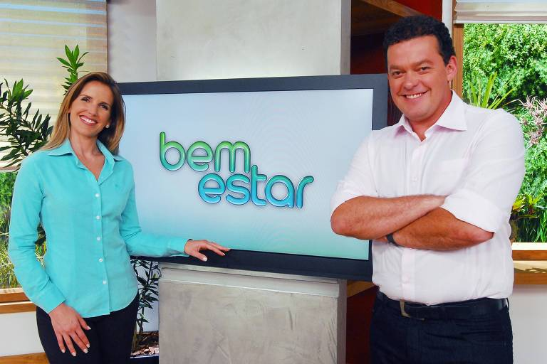 Mariana Ferrão e Fernando Rocha na estreia do programa Bem Estar, em 2011