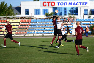 The clubs Kafa Feodosia and Avangard Yalta compete in a playoff match that determines which team gets a spot in the Crimean Premier League, in Feodosia, Crimea.