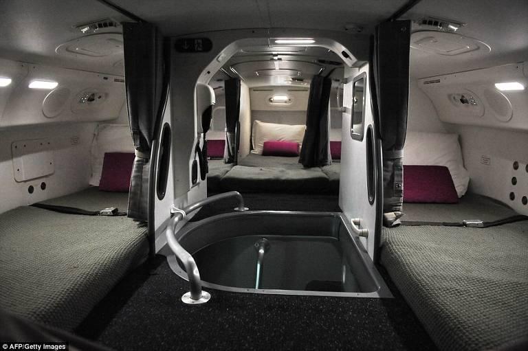 Sala de descanso para tripulação em voos longos