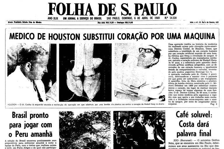 Primeira página da Folha de S.Paulo de 6 de abril de 1969