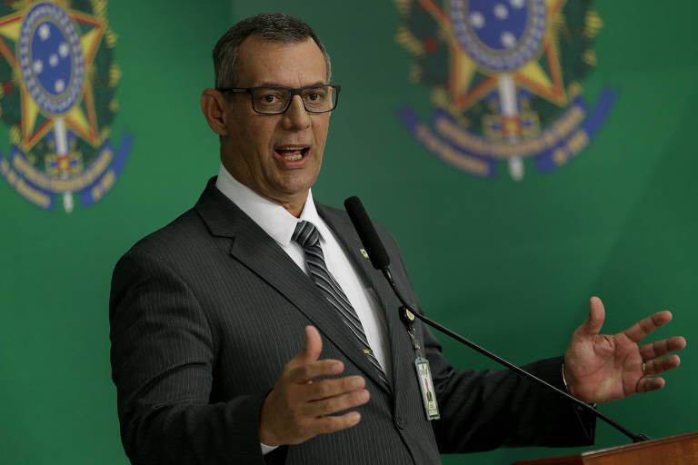 O porta voz do governo Bolsonaro, general Otávio Rêgo Barros, durante entrevista coletiva no Palácio do Planalto