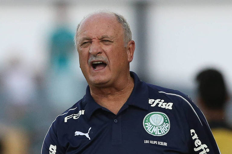O técnico Luiz Felipe Scolari observa treino do Palmieras
