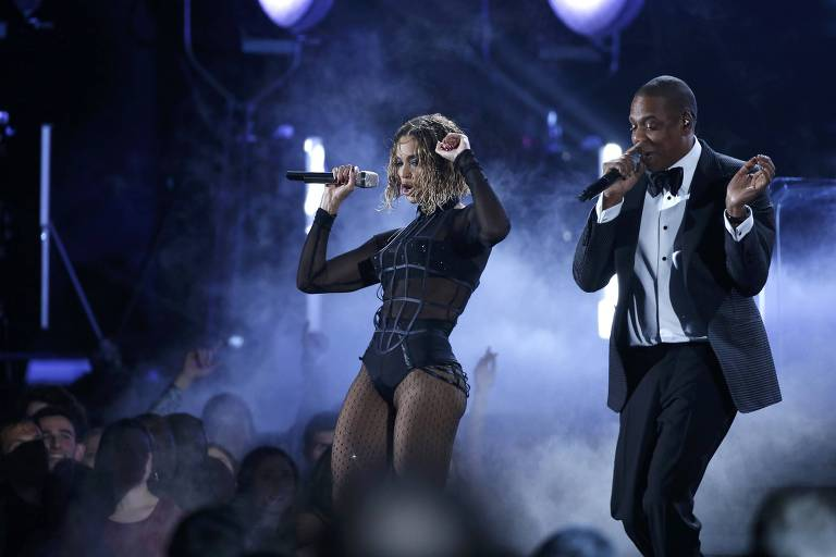 Beyonce e Jay-Z na cerimônia do Grammy em 2014