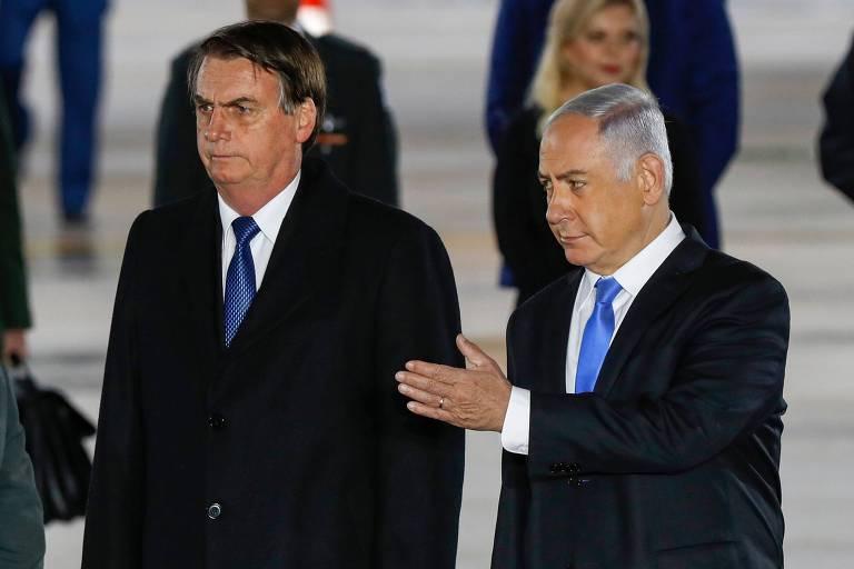O presidente Jair Bolsonaro ao lado do primeiro ministro de Israel  Binyamin Netanyahu, nas proximidades de Tel Aviv