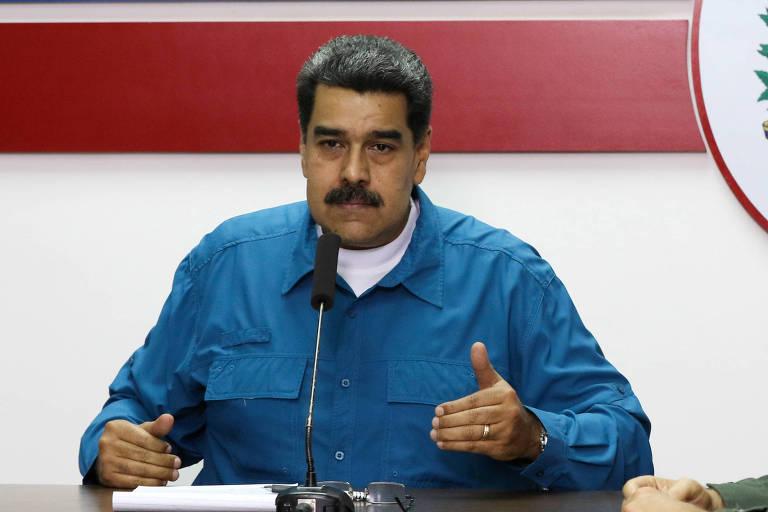 O ditador Nicolás Maduro, durante reunião no Palácio de Miraflores