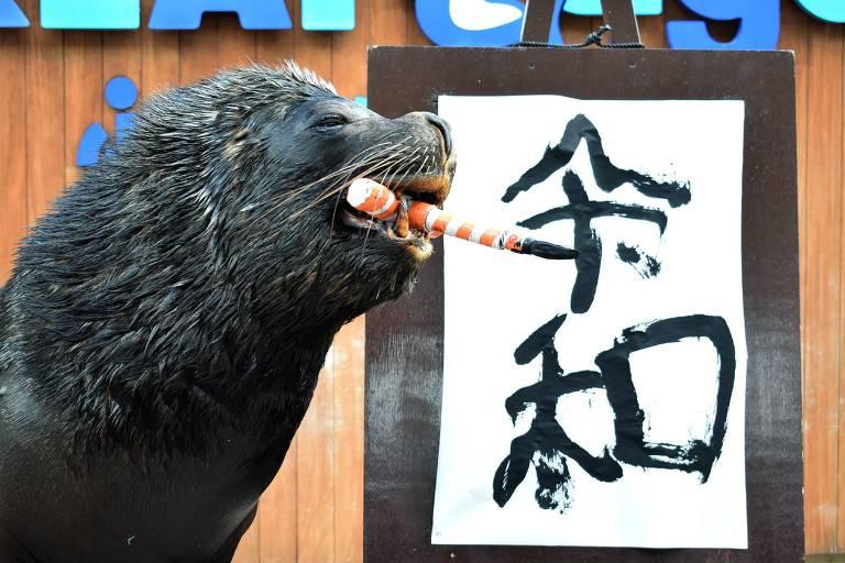 Leão Marinho escreve o nome da nova em cerimônia em parque aquático em Yokohama