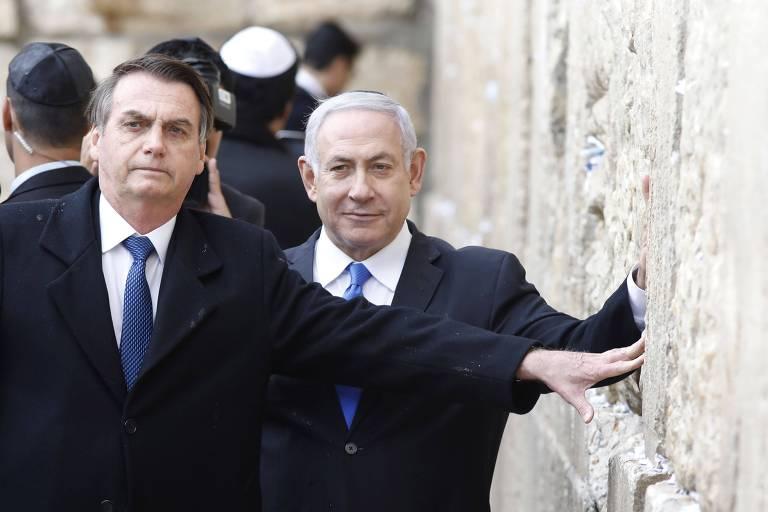 O presidente Jair Bolsonaro e o primeiro-ministro de Israel, Benjamin Netanyahu